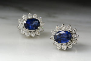 Estate Art Deco Revival / Princess Diana Style Platinum, Sapphire, and Diamond Halo Studs