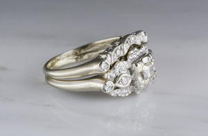 Edwardian / Art Deco 1930s 14K White Gold .25 Carat Modern Round Brilliant Engagement Ring and Wedding Band Matching Set