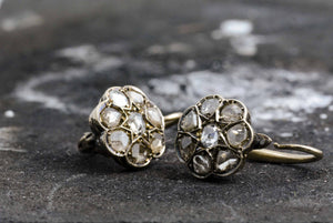 Antique Georgian / Victorian Rose Cut Diamond Earrings