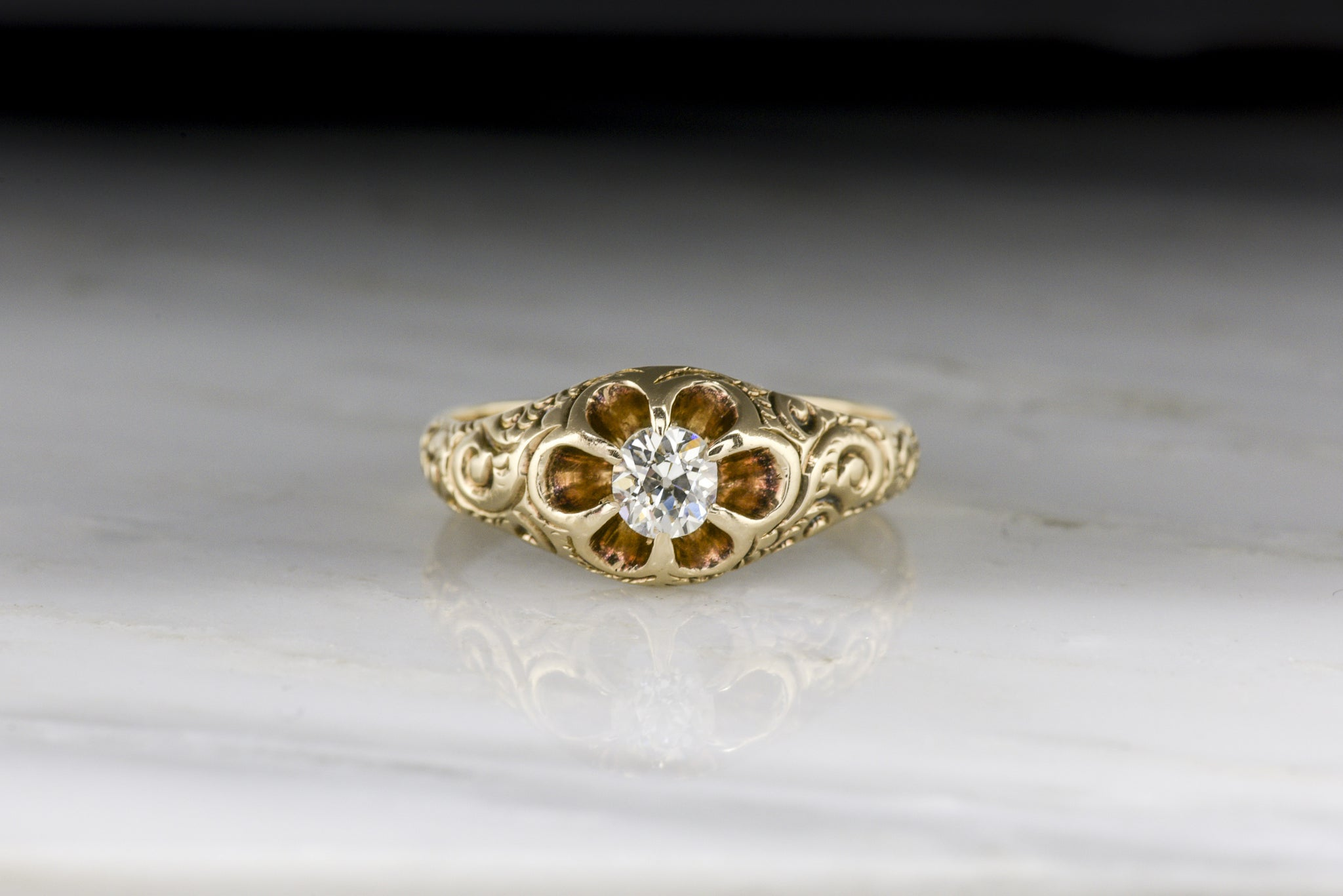 victorian diamond engagement ring or wedding band scroll