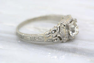.90ct Certified Old European Cut Diamond in Edwardian Art Deco 18K White Gold Filigree Solitaire Engagement Ring with Engraving