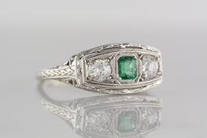 Antique Art Deco / Edwardian Emerald and Diamond Engagement, Anniversary, or Wedding Ring