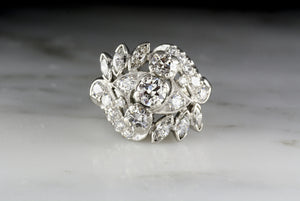 Vintage Art Deco / Retro Platinum Cocktail or Fashion ring with Old European and Marquise Cut Diamonds