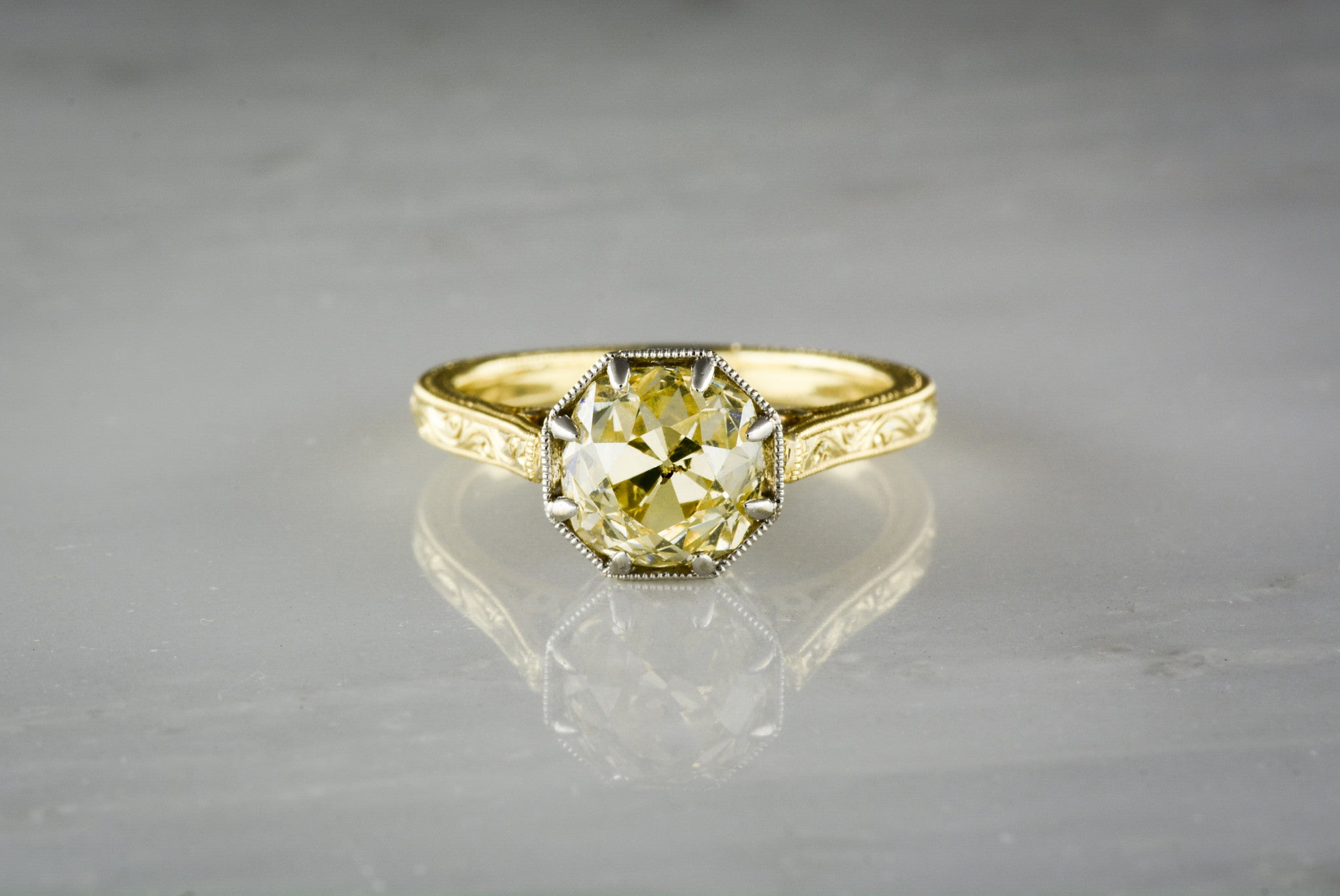 Antique Vintage Yellow Old Mine Cut Diamond Engagement - Pebble and Polish 0cdaaa167