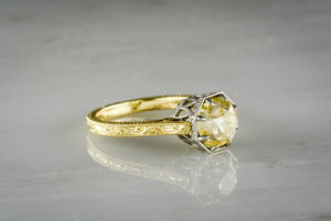 2.22 Carat Fancy Light Yellow Old Mine Cut Diamond in Original 14K Yellow and White Gold Engagement Ring; Antique Parisian Hot Air Balloon Design