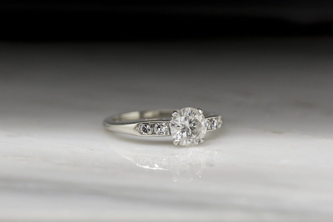 Vintage c. 1950s Post Art Deco / Retro Engagement Ring with .83 Carat Early Modern Round Brilliant Cut Diamond in 14K White Gold