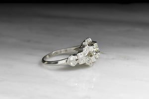 Art Deco GIA Certified Old Euro Cut Diamond Engagement Ring