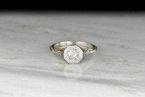 c. 1920s Post-Edwardian Old Mine Cut Diamond Engagement Ring with Ornate Filigree