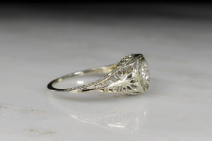Ornate Open Filigree Edwardian Revival Engagement Ring