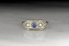 c. 1940s Diamond and Sapphire Ring in Edwardian Revival Style