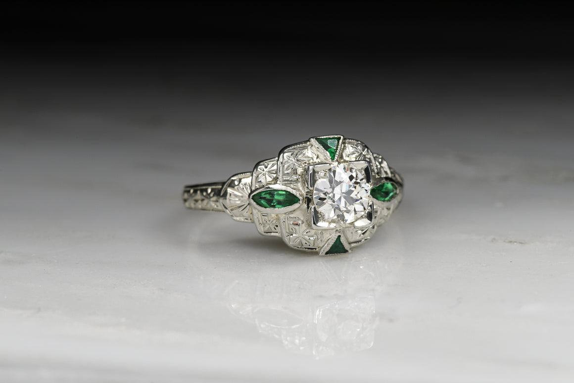 Vintage Art Deco Old European Cut Diamond and Emerald Engagement Ring