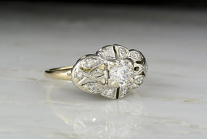 Retro .50 Carat Old European Cut Diamond Engagement or Cocktail Ring
