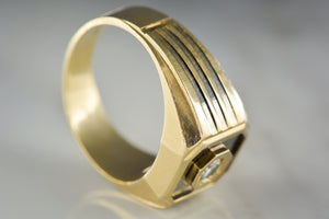 "Vintage Men's ""LeMans"" Wedding Band or Pinky Ring with .25 Carat Diamond in 14K Yellow Gold"