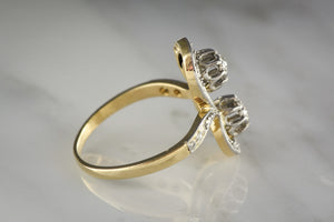 Antique Toi et Moi French French Art Nouveau / Victorian / Art Deco Old Mine Cut Diamond, Gold and Platinum Ring