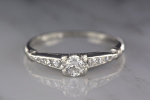 Art Deco Platinum Engagement Ring with .25 Carat Old European Diamond and Channel-Set Single Cut Diamond Accents