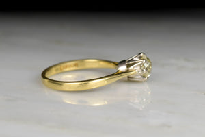 Vintage Victorian Revival Old Mine Cut Diamond Solitaire Engagement Ring
