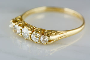 Victorian Yellow Gold and Old Mine Cut Diamond Wedding Band or Stacking Ring with Old Mine / Old European Cut Diamonds