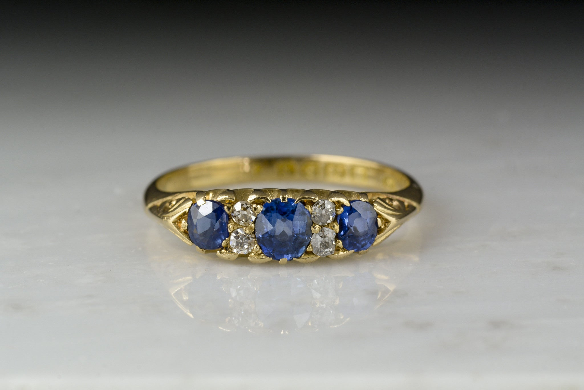 sapphire gold in diamonds white tw ring ceylon with