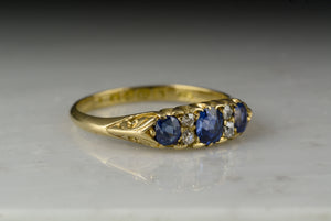 Antique 1896 Victorian Ceylon Sapphire and Old Mine Cut Diamond Wedding Band or Anniversary Ring