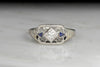 RESERVED!!! Open Filigree Diamond and Sapphire Right-Hand Ring