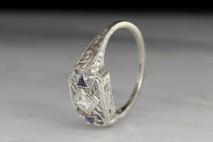 Open Filigree Diamond and Sapphire Right-Hand Ring