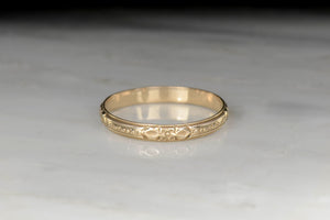 Men's Late Victorian Wedding Band with Orange Blossom and Leaf Engraving