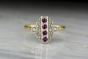 Antique Art Deco, Victorian Revival Gold, Ruby, and Diamond Cocktail Ring