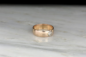 "Men's or Women's Victorian ""1903"" Gold and Diamond Band"