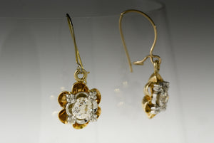 Antique Victorian 1.00 ctw Old European / Old Mine Cut Diamond, Gold, and Platinum Buttercup Dangle Earrings