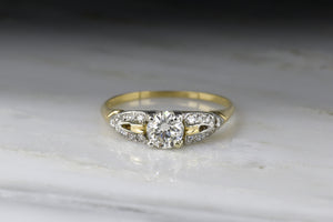 Art Deco / Retro Transitional Cut Diamond Engagement Ring