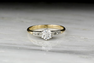 Antique Victorian Old Mine Cut Diamond Solitaire Engagement Ring