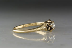 Antique Victorian Rose Gold Buttercup Engagement Ring with Old European Cut Diamond Center