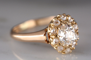 1ctw Victorian Old Mine Cut .75ct Diamond Engagement Rose Cut Cluster in 14K Rose / Yellow Gold
