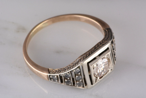 Victorian Revival Old Diamond Engagement Ring or Men's Wedding Ring