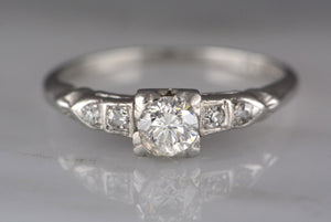 Edwardian / Art Deco .30 Carat Round Brilliant Diamond and Platinum Engagement or Stacking Ring