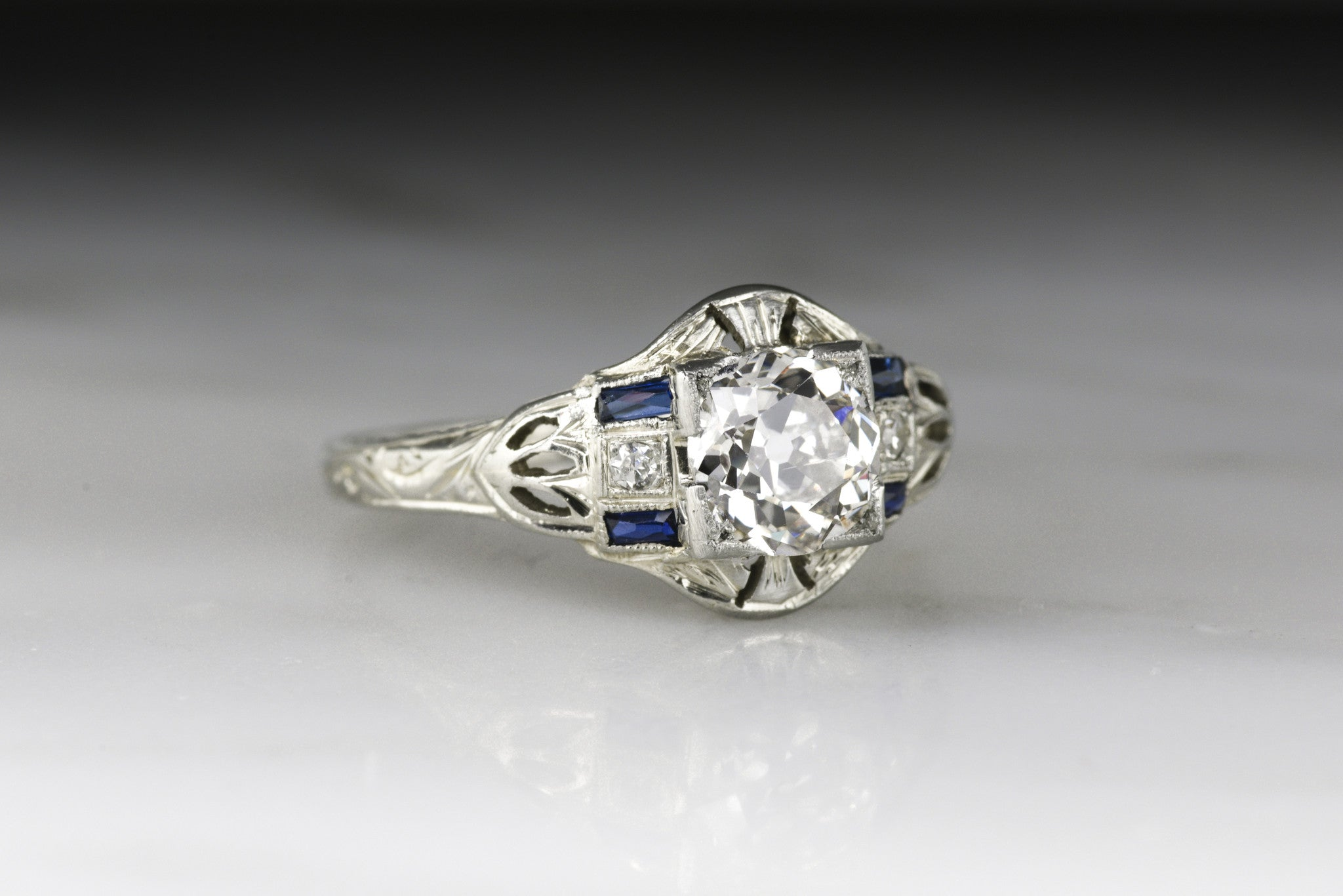 cut sapphire products old deco ring baguettes french and engagement european center antique diamond art with