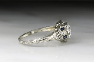 Antique Art Deco Engagement Ring with Old European Cut Diamond Center and French Cut Sapphire Baguettes