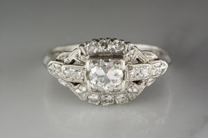 Platinum Art Deco Engagement, Anniversary, or Cocktail Ring with Old European Cut Diamond Center and Diamond Accents