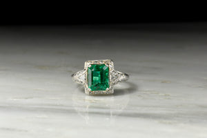 c. 1920s Emerald Ring with Ornate Open Filigree
