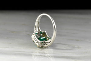 RESERVED!!! c. 1920s Emerald Ring with Ornate Open Filigree