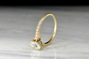c. 1900 Victorian Solitaire GIA 1.17 Carat Old European Cut Diamond Engagement Ring