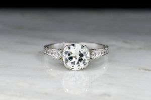 Ornate Edwardian Platinum Engagement Ring with a 1.01 Carat Old European Cut Diamond