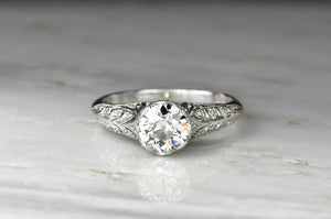 Edwardian Engagement Ring with an Open Filigree Wheat Pattern
