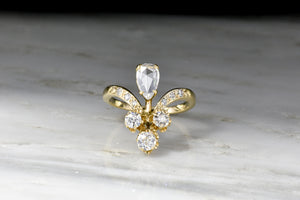 Victorian Tiara Ring with a Pear Rose Cut Diamond