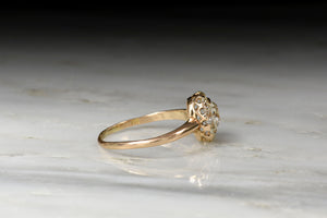 Victorian Old Mine Cut Diamond Halo Engagement Ring in Rose Gold