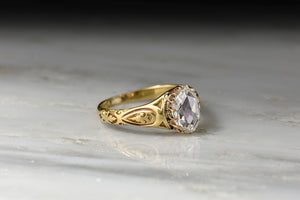 Victorian GIA 1.00 Carat Oval Rose Cut Diamond Ring with Hand-Engraved Shoulder Details