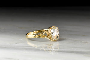 French Victorian Cushion Rose Cut Diamond Engagement Ring