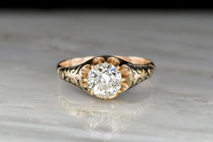 Mid-Late 1800s Victorian Belcher Engagement Ring with Engraved Shoulders