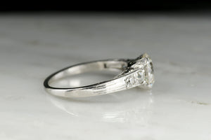 c. 1920s Engraved Platinum Engagement Ring with a 1.44 Carat Old European Cut Diamond Center