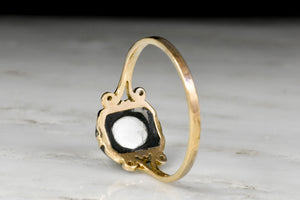 Victorian Gold and Black Enamel Split-Shank Ring with a 1.30 Carat Rose Cut Diamond